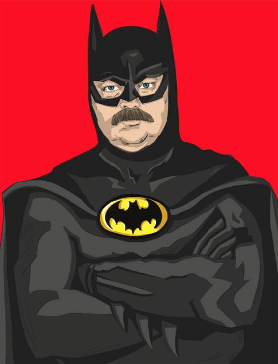 ron swanson as batman